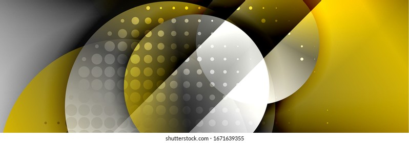 Dynamic trendy geometrical abstract background. Circles, round shapes 3d shadow effects and fluid gradients. Modern overlapping round forms. Vector Illustration For Wallpaper, Banner, Background, Card
