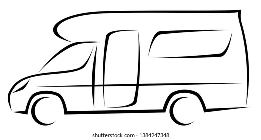 Dynamic vector illustration of a caravan for travellers which can be used for many adventures. The car has a modern kinetic design.