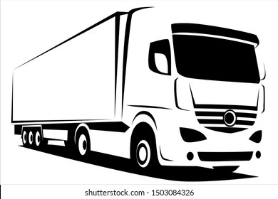 Dynamic vector illustration of an european truck with a trailer delivering goods which can be used as a logo of a company
