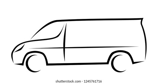 Dynamic vector illustration of a van with short wheelbase and small roof as a logo for delivery or courier company. The car has a modern kinetic design.