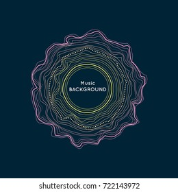 Dynamic wavy lines and dots in the circle. Abstract vector background for music equalizer.