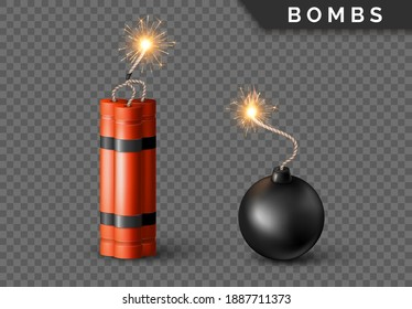 Dynamite Bomb with Burning Wick and black sphere bomb. Military Detonate Red Weapon. Vector illustration