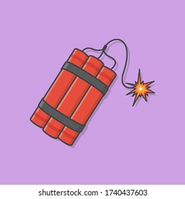 Dynamite Bomb With Burning Wick Detonate Vector Icon Illustration. Explosive Dynamite, Grenade, And Bomb Icon