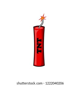 Dynamite, bomb with fire isolated on white background. Explosion. Danger weapon. Vector cartoon design