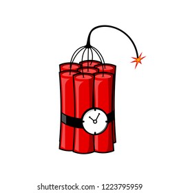 Dynamite, bomb with fire isolated on white background. Explosion. Danger weapon with clock. Vector cartoon design
