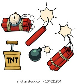 dynamite, bomb, dynamite bomb with timer. cartoon illustrations