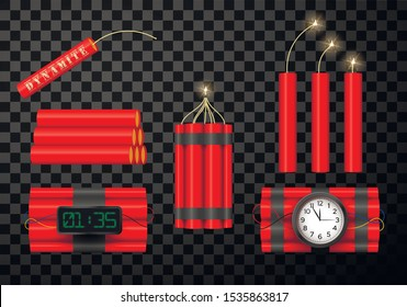 Dynamite bomb vector red icons 3d set. Realistic bomb with timer ready to explode. Dynamite with burning stick isolated on transparent background. Pyrotechnics, fireworks collection