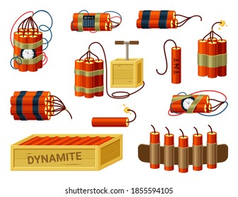 Dynamite bundles set. Box with ready explosives cartridge belt with miniature fuses red sticks with timer prepared bomb with hand detonators burning cable of detonating device TNT. Vector hazard.
