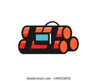 Dynamite symbol logo vector design. simple illustration of dynamite with timer design. dynamite logo vector