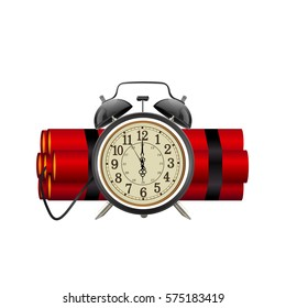 Dynamite time bomb isolated on white background, vector illustration.