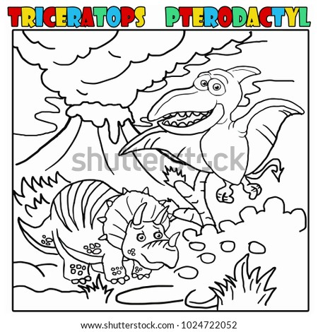 Dynosaur Coloring Book Triceratops And Pterodactyl