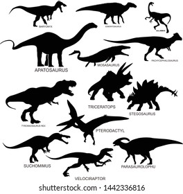 dynosaurs silhouette vector with name