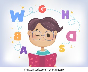 Dyslexia failing to read. Confused boy screw the eye with a cloud of scattered letters above his head and book.  Learning disability concept. Flat vector illustration. Isolated on white background.