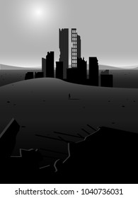 dystopian future vector, desolate landscape with city ruins in desert, post apocalyptic scene