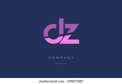 dz d z  pink blue pastel modern abstract alphabet company logo design vector icon template