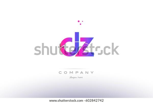Dz D Z Pink Purple Modern Stock Vector (Royalty Free) 602842742