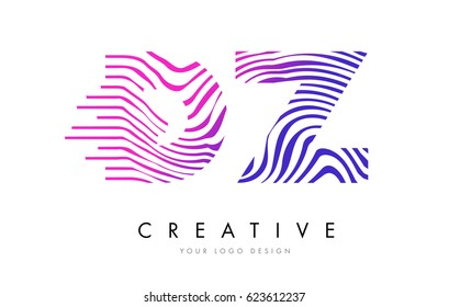 DZ D Z Zebra Letter Logo Design with Black and White Stripes Vector