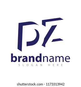 DZ initial letter with negative space logo icon vector template
