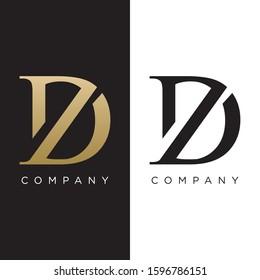 dz or zd initial logo luxury design vector premium