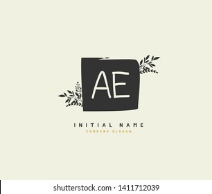 A E AE Beauty vector initial logo, handwriting logo of initial wedding, fashion, jewerly, heraldic, boutique, floral and botanical with creative template for any company or business.