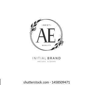A E AE Beauty vector initial logo, handwriting logo of initial signature, wedding, fashion, jewerly, boutique, floral and botanical with creative template for any company or business.
