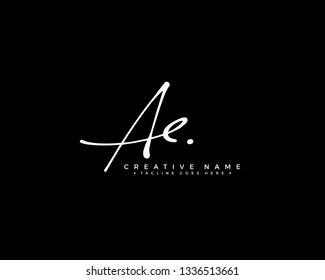 A E AE initial logo signature vector. Handwriting concept logo.