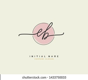 E B EB Beauty vector initial logo, handwriting logo of initial signature, wedding, fashion, jewerly, boutique, floral and botanical with creative template for any company or business.