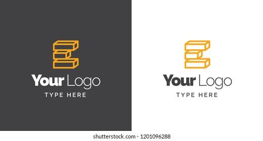 E blocks logo for construction, architecture and civil engineering company