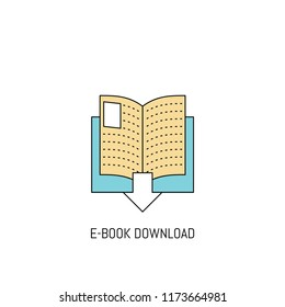 E Book Downloading colorful line icon. Simple Icon illustration. Book Downloading Line Icon Useful For Web, Mobile, Software & Apps. Eps-10.