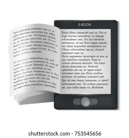 E book reader with flipping pages isolated flat icon vector illustration