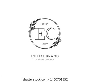 E C EC Beauty vector initial logo, handwriting logo of initial signature, wedding, fashion, jewelry, boutique, floral and botanical with creative template for any company or business.