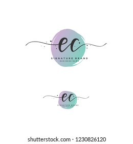 E C EC Initial logo template vector