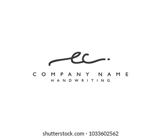 E C Initial handwriting logo