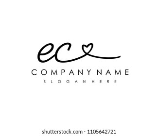 E C Initial handwriting logo vector