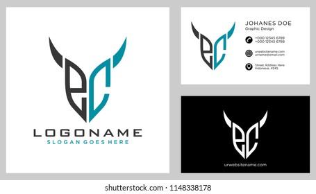 E C initial logo template vector
