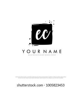 E C initial square logo template vector