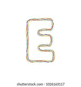 E Colorful String Letter Logo Icon Design