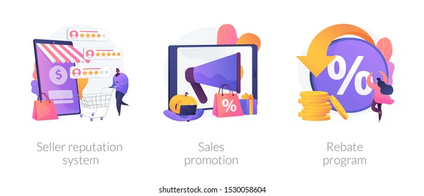 E commerce icons cartoon set. Online store discounts. Internet shopping. Seller reputation system, sales promotion, rebate program metaphors. Vector isolated concept metaphor illustrations