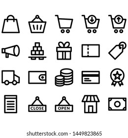 E Commerce Icons Set, Vector Simple Outline