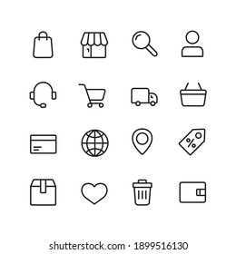 E commerce simple thin line icon vector illustration. Shopping cart, search , market, shop, delivery box, car, delivery, location, heart, support, credit card, discount and more.
