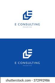 E consulting logo template.