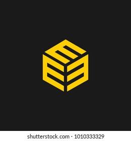E cube design with letter e