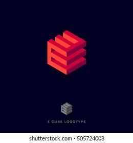 E cube logo. Building Logo. E monogram.