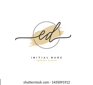 E D ED Beauty vector initial logo, handwriting logo of initial signature, wedding, fashion, jewerly, boutique, floral and botanical with creative template for any company or business.  - Shutterstock ID 1435091912