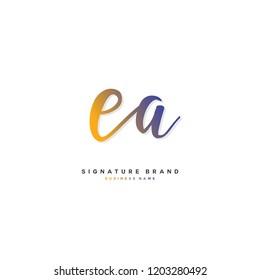 E A EA Initial letter handwriting and  signature logo concept design