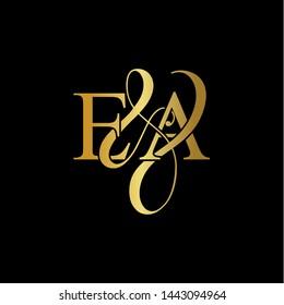 E & A / EA logo initial vector mark. Initial letter E & A EA luxury art vector mark logo, gold color on black background.