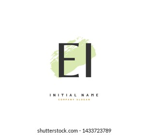 E I EI Beauty vector initial logo, handwriting logo of initial signature, wedding, fashion, jewerly, boutique, floral and botanical with creative template for any company or business.