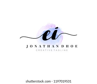 E I EI Initial watercolor logo on white background. Logo template vector