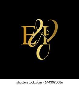 E & I / EI logo initial vector mark. Initial letter E & I EI luxury art vector mark logo, gold color on black background.