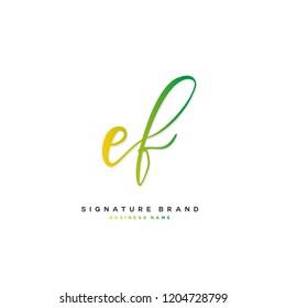 E F EF Initial letter handwriting and  signature logo concept design
